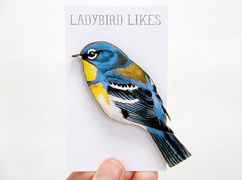 Northern Parula Bird Wooden Brooch