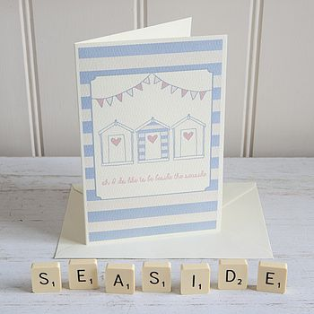 Beach Hut Bunting Seaside Card Personalised