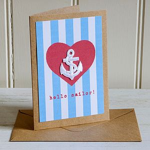 'Hello Sailor' Nautical Stripe Anchor Card - funny cards