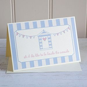 Beach Hut Seaside Bunting Card Personalised