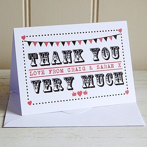 Personalised Thank You Rockabilly Card - wedding stationery