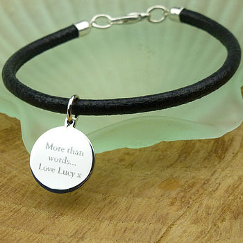 Men's Leather And Silver Bracelet.