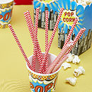 Pop Art Superhero Red Chevron Paper Straws