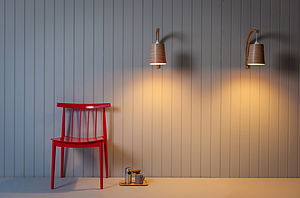 Tom Raffield Stem Wall Light With Wooden Lampshade