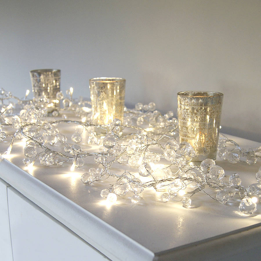 clear crystal led light garland by red lilly notonthehighstreet com