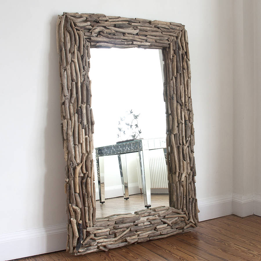 Large rectangular driftwood mirror by decorative mirrors for Large contemporary mirrors