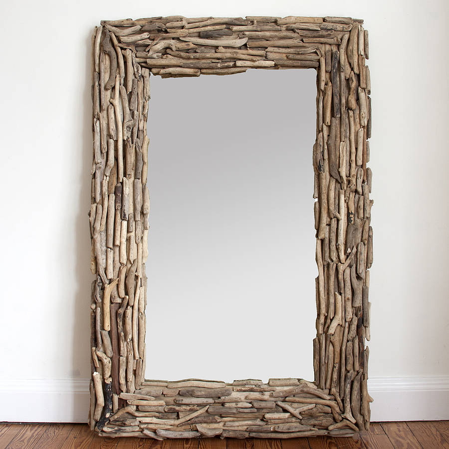 Large rectangular driftwood mirror by decorative mirrors for Fancy mirror