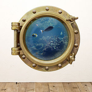 Underwater Porthole Wall Sticker - decorative accessories