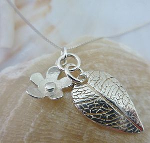 Flower And Leaf Silver Pendant - necklaces & pendants