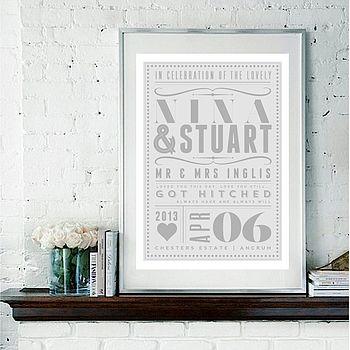 Personalised Vintage Wedding Or Anniversary Date Print