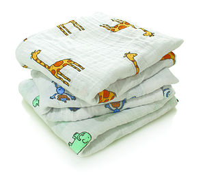 'Jungle Jam' Pack Of Three Muslin Squares - blankets, comforters & throws