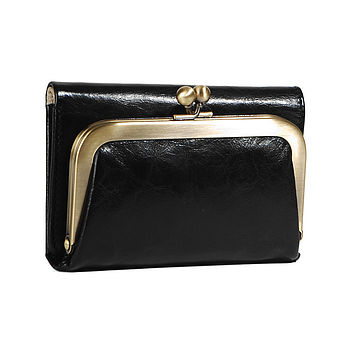Black Leather Clip Purse
