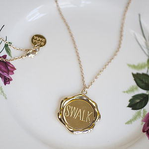 'Sealed With A Loving Kiss' Wax Seal Necklace - more