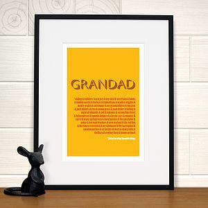 Personalised Grandad's Favourite Things Print - gifts for grandparents