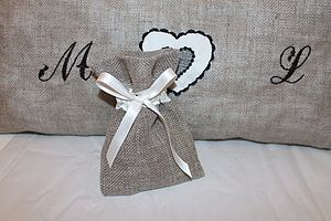 Burlap And Lace Wedding Favour Bag - wedding favours
