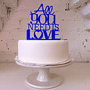 'All You Need Is Love' Cake Topper in Royal Blue