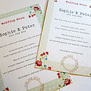 Vintage Floral Wedding Day Menu