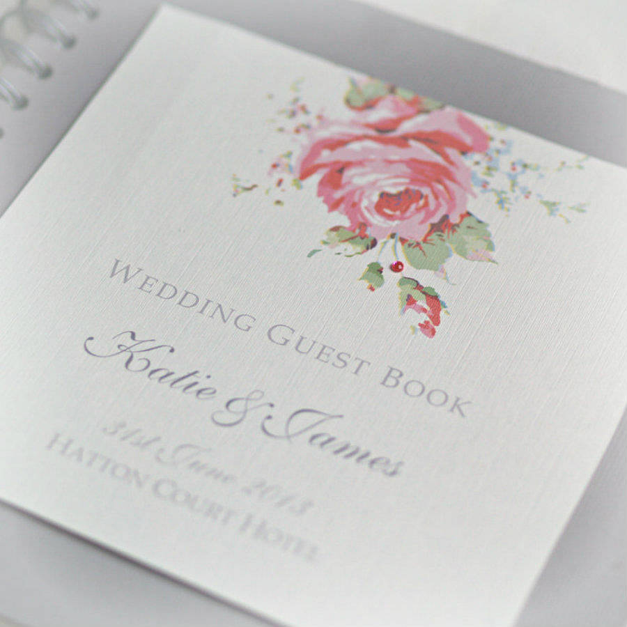 Wedding Guest Book Cover Design ~ English rose design wedding guestbook by beautiful day