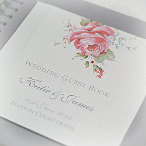 English Rose Design Wedding Guestbook - spring florals