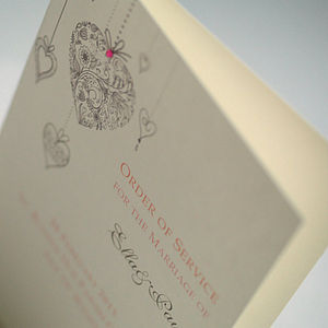 Hanging Hearts Wedding Order Of Service Cards