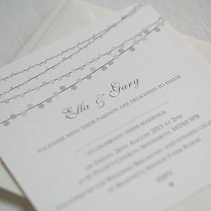 String Lights Design Wedding Invitations - wedding stationery