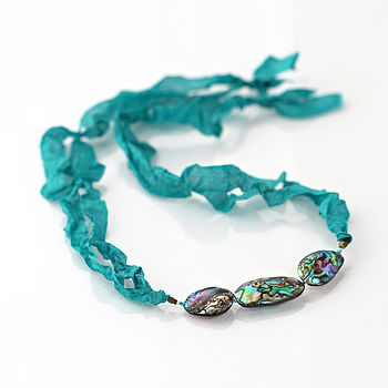 Ribbon Necklace With Paua Shells - Option 1 - Teal Ribbon