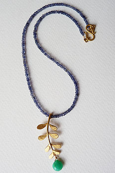 Gold Plated Evie Leaf on Iolites with Chrysoprase drop