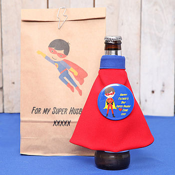 personalised fathers day cape on standard bottle of beer