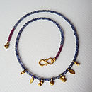 Gold Plated Garnet And Iolite Necklace
