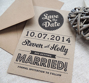 Retro Vintage Style Kraft Save The Date Card - wedding stationery