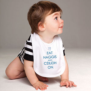 'Eat Haggis And Ceilidh On' Bib - bibs