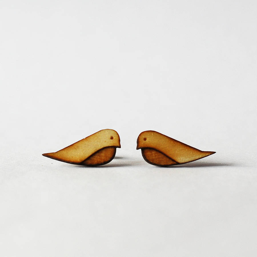 Wooden Bird Stud Earrings By Press Send