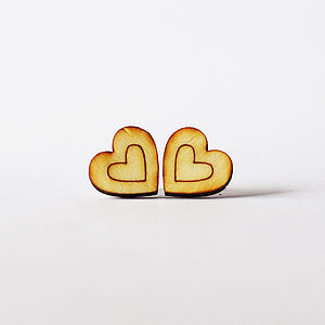 Wooden Heart Stud Earrings - earrings