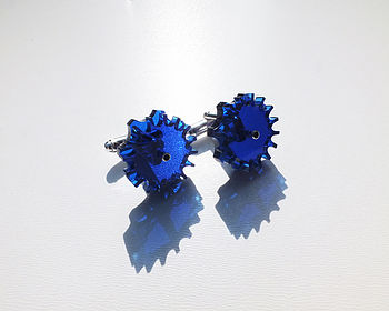 Transparent Dark Blue Cog Cufflinks