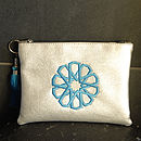 Make Up Pouch In Faux Leather Silver