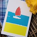 'Red Sail' Boat Card