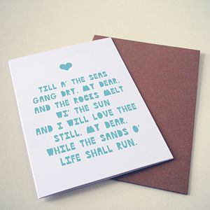 'Til A The Seas Gang Dry' Card - wedding stationery