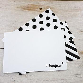 Set Of Six Bonjour Boxed Notecards