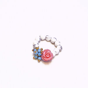 Semi Precious Bead Stretch Ring - rings