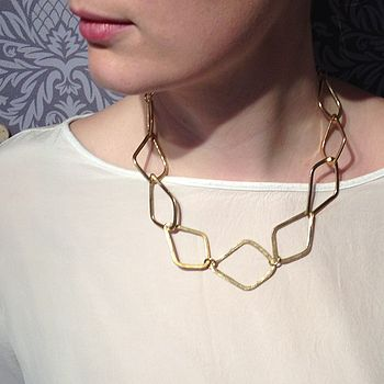 Brass Diamond Link Necklace