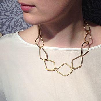 Brass Diamond Link Necklace