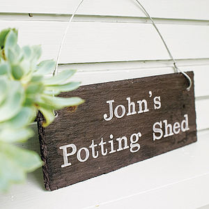 Personalised Engraved Slate Shed Sign - given with love...