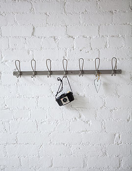 Seven Hook Zinc Coat Rack