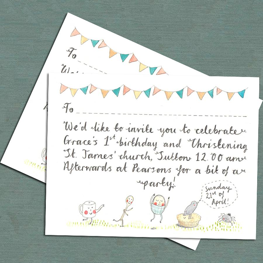 whimsical christening invitation by victoria whincup illustration