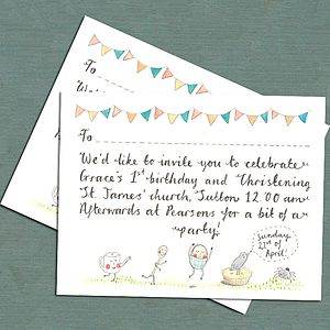 Whimsical Christening Invitation - invitations