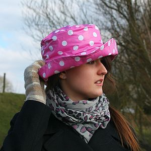 Adjustable Polka Dot Waterproof Rain Hat - hats & hair accessories