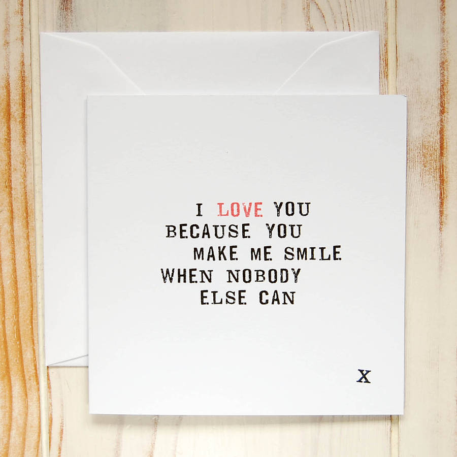 I Love You Because: 'i Love You Because…' Card By Door 77