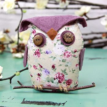 Floral Owl On A Branch Decoration