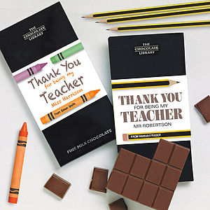Personalised Thank You Teacher Gift Chocolate - thank you cards