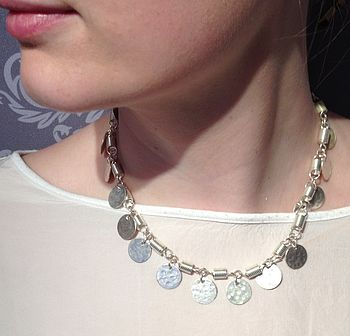 Silver Plated Brass Coin Necklace